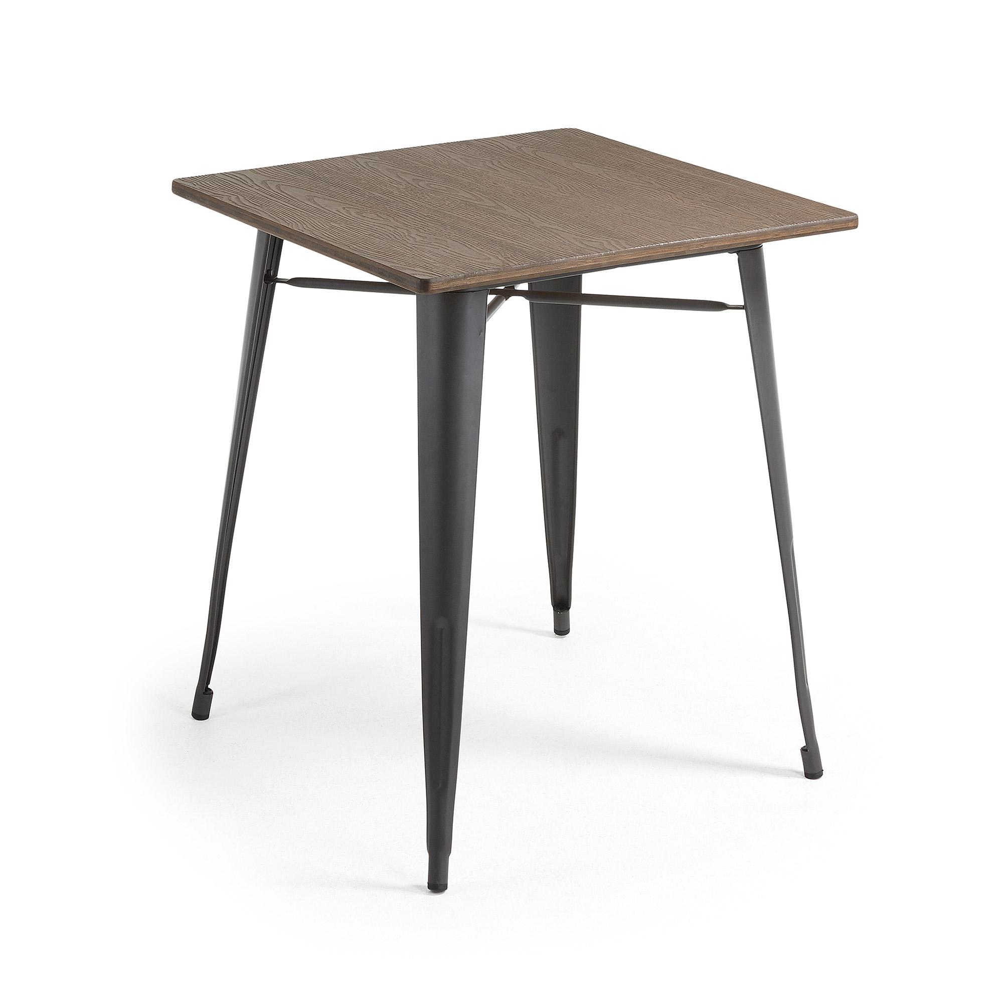 Mesa 80x80 metal antracite bambú