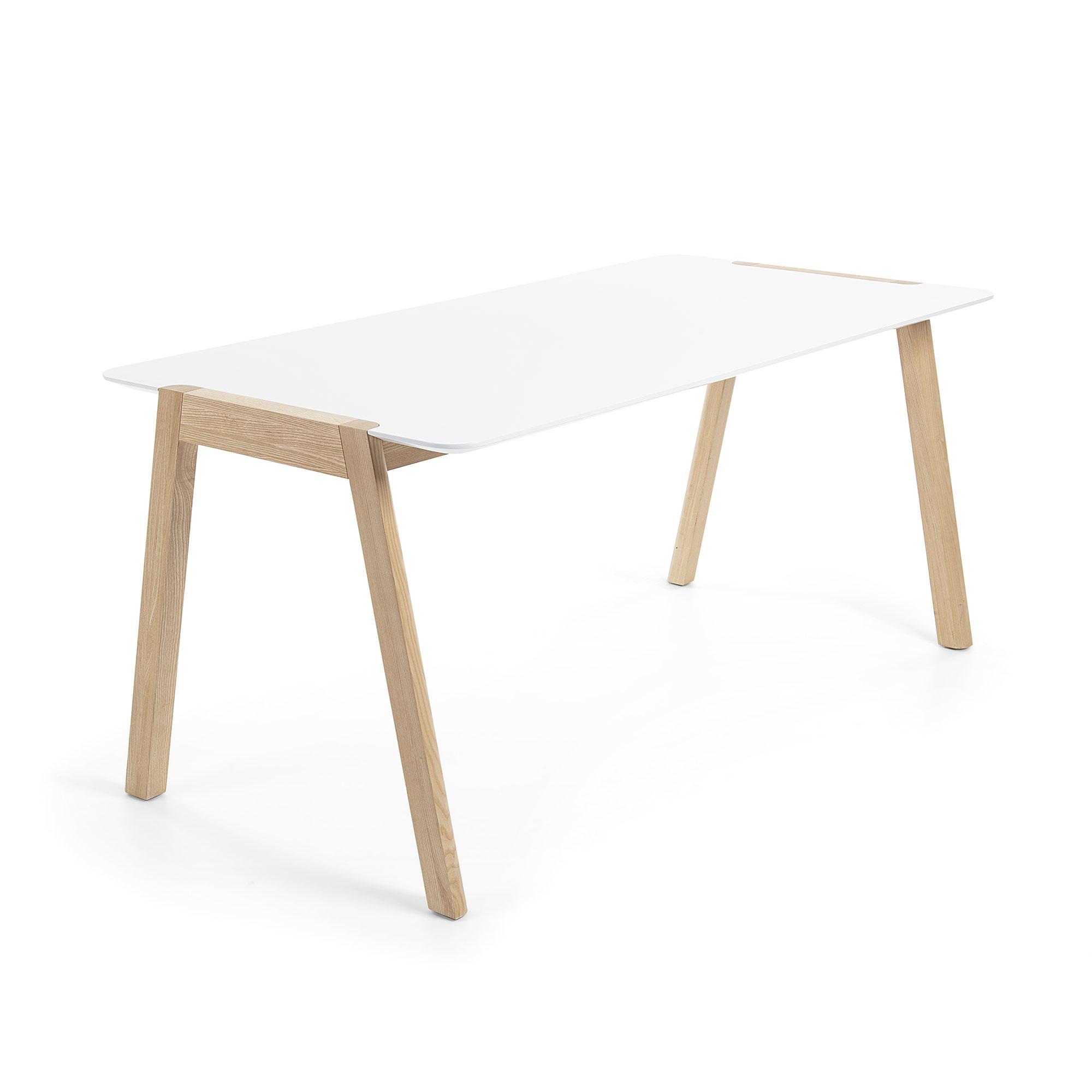 Mesa 200x90 madera fresno lacado blanco mate
